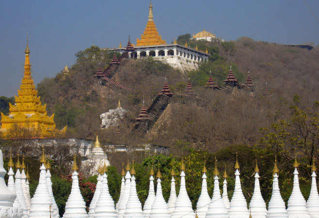 Mandalay Hill and the Shweyattaw Buddha Pavilion view from Sanda Muni Pagoda