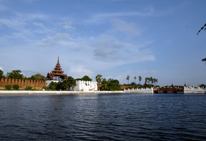 The moat and walls of Mandalay Fort