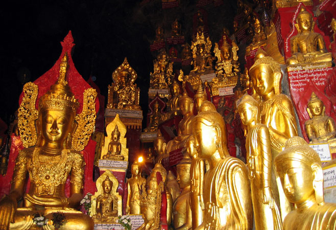 Thousands of Buddha images inside the Pindaya Cave.