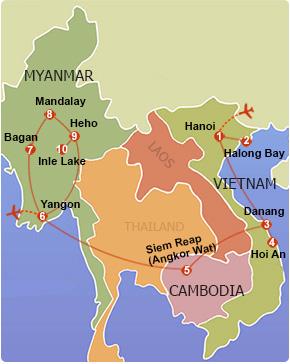 vietnam cambodia myanmar tour map
