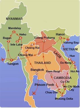 Myanmar – Vietnam – Cambodia – Laos – Thailand Tour – 33 Days