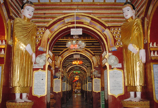 The whole walls are covered with Buddha Images